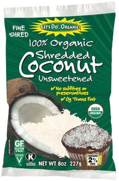 Let's Do Organic Coconut Finely Shredded Flakes Unsweetened 8 oz - Pack of 4 #ad