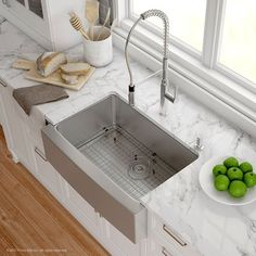 """Kraus Handmade 16 Gauge Stainless Steel 29.75"""" x 20.75"""" Apron-Front Farmhouse Kitchen Sink with Faucet  Finish: Chrome"""