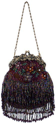 Vintage Flowers Seed Bead Flapper Clutch Evening Handbag,