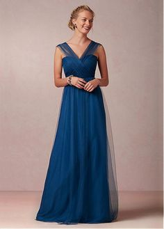 Buy discount Chic Tulle V-neck Neckline Full-length A-line Convertible Bridesmaid Dress at Laurenbridal.com