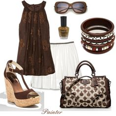 ~Wooden Sunglasses~, created by love it all but the skirt Wooden Sunglasses, My Outfit, Brown Outfit, Summer Outfit, White Skirts, Skirt Fashion, Fashion Dresses, Summer Wardrobe, Dress Me Up