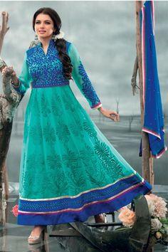 Fascinating Bhagyashree Teal, Blue Georgette Heavy Zari work Knee Length Suit