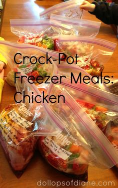 Chicken w/pineapple-Dollops of Diane: Crock-Pot Freezer Recipes: Chicken- Orange Chicken, Chicken Taco Soup, Brown Sugar Chicken, Garlic Lime Chicken Slow Cooker Freezer Meals, Crock Pot Freezer, Freezer Cooking, Crock Pot Cooking, Slow Cooker Recipes, Crockpot Recipes, Freezer Recipes, Cooking Recipes, Healthy Recipes