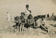 Margot and Anne Frank with friends at the beach in Zandvoort