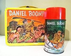 Vintage Classic 1955 Daniel Boone Metal Lunchbox w/ Thermos Lunch Box Thermos, Tin Lunch Boxes, Vintage Lunch Boxes, Metal Lunch Box, Tin Boxes, Vintage Stuff, Vintage Metal, Vintage Books, School Lunch Box