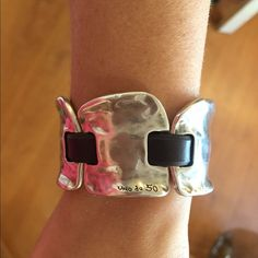 Uno de 50 statement piece bracelet This beautiful statement piece will not go unnoticed!!! Silver and leather comfortable and stylish .....a must have!! Uno de 50 Jewelry Bracelets