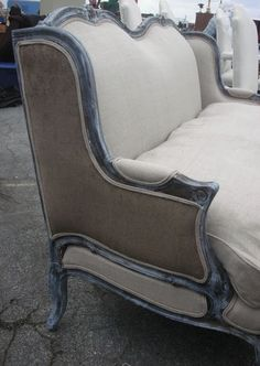 Bergere. French country settee, looks like graphit with a white wash of chalk paint