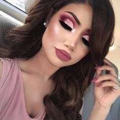 """Car selfies are the best selfies Currently obsessed with pink  I'm wearing @hudabeauty rose gold palette (shy, flamingo, bossy, angelic) @nyxcosmetics """"rose"""" glitter @lillylashes """"Mykonos"""" Lips: """"clueless"""" by @colourpopcosmetics Highlight: """"soft and gentle"""" by @maccosmetics"""