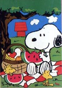 "Free Nautical Flags To Print | View Snoopy Picnic Pals Screen Print Flag 28""x40"" - 23020"