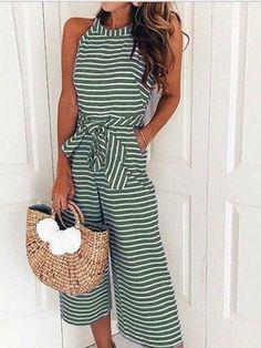 35a9671df2 Green Stripe Cotton Tie Waist Pocket Detail Sleeveless Jumpsuit