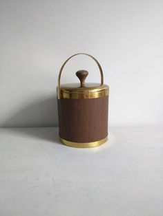Vintage Ice Bucket, 1960s Ice Bucket Vintage Barware Vintage Serving Brass Wood Accented Insulated Ice Bucket Made In USA Bar Cart Accessory by SweetBraceDesign on Etsy