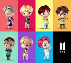 "BTS introduced the new figurines for their ""House of BTS"" pop-up store in Seoul and these new figures are pure chibi goodness. V Bts Cute, I Love Bts, Bts Chibi, Billboard Music Awards, Bts Jungkook, Dance Music, Bts Poster, Bts Name, Bts Pictures"