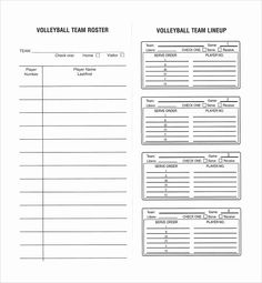 Free Roster Templates Printable For Volleyball Lineup Sheet Sample Template 6 Drills