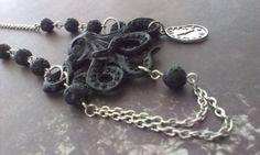 Black octopus on black lava beads by wonderstruckinc on Etsy, $14.00