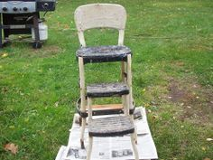 Hometalk :: Refinishing an Old Step-stool High Chair Old Chairs, Deck Chairs, Metal Chairs, Outdoor Chairs, High Chairs, Dining Chairs, Ikea Chairs, Painted Chairs, Cafe Chairs
