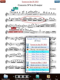 Lesson Noter: iPad app that displays music and allows notes, audio, and video to be created and exported through iTunes.