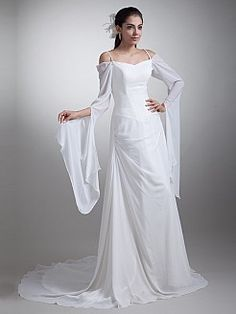 Spaghetti Straps Chiffon Wedding Dress with Long Sleeves and Court Train - USD $185.49