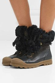 Parker shearling-trimmed suede and leather ankle boots
