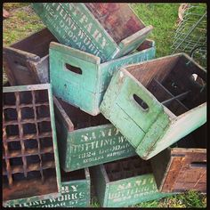 Green wooden vintage boxes!