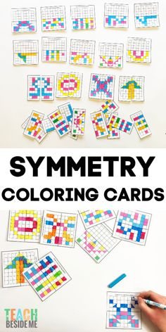 Integrate math and art with these symmetrical pattern coloring cards. This is a great math art project that kids love doing! Symmetry Activities, Math Activities, Maths Puzzles, Math Worksheets, Drawing Games For Kids, Maths Display, Symmetry Art, Math Patterns, Math Projects