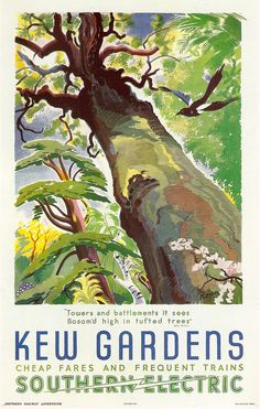 'Kew Gardens' Southern Electric Railway Poster, 1941 by Feodor Rojankovsky. Posters Uk, Train Posters, Railway Posters, Illustrations And Posters, Poster Prints, London Underground Train, Kew Gardens London, British Travel, The Colour Of Spring