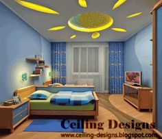 Kids Bedroom Design Ideas Stretch Ceiling With Sun Theme
