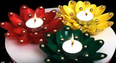 DIY Diwali/Christmas Home Decoration Ideas : How to Decorate Diwali Diya from Plastic Spoons?Have you ever tried plastic spoon crafts for home decoration? In this article we will show you how to make diwali diya decoration from plastic spoons. Christmas Candle Holders, Christmas Candles, Christmas Crafts, Christmas Ideas, Nordic Christmas, Modern Christmas, Christmas Christmas, Plastic Spoon Crafts, Plastic Spoons