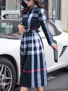 A-line Casual Checkered/Plaid Brushed Long Sleeve Midi Dress