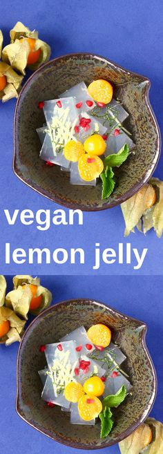 This Vegan Lemon Jelly makes a great light dessert, or if you're feeling sophisticated, also doubles up as a refreshing palate cleanser. Dairy-free, egg-free, vegetarian, gluten-free + refined sugar free. #vegan #glutenfree #dairyfree #plantbased #dessert #lemon #jelly #vegetarian