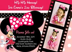 Minnie Mouse Birthday Invitation Hot Pink & Polka Dot by Sassygfx, $18.00