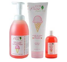 100% Pure Yummy Ice Cream Strawberry Gift Set  #crueltyfree #noanimaltesting #beauty #skincare