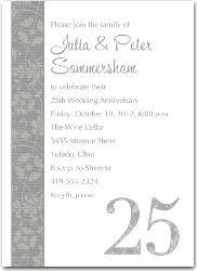 25th Wedding Anniversary Invitations Wording Classic 20black