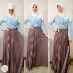 mocha pleated maxi skirt- Summer hijab fashion for teens http://www.justtrendygirls.com/summer-hijab-fashion-for-teens/
