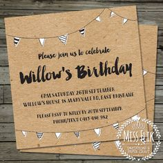 Rustic Birthday Invitation Black Brown Recycled Kraft by MissFlik