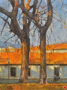 """Bare Sycamore Trees (Lucca) by James Crandall Oil ~ 24"""" x 18"""""""