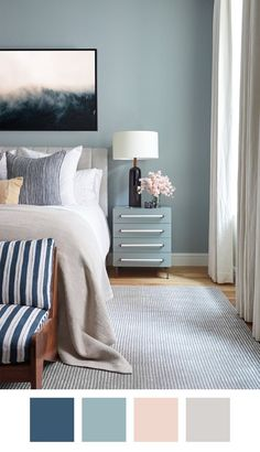 Killer Color Palettes To Try if You Love Blue — Whether you choose to go with a light Parisian blue or a rich indigo as the base of your room palette, you can't go wrong, honestly. To that, some oatmeal-colored beige, a mix of crisp and off whites, and a touch of blush makes for a totally dreamy design scenario.