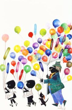 Leuk om de kinderen te laten knutselen. Kies een vast plaatje en laat de kinderen met de vingers ballonnen maken.