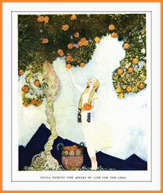 1922 Pogany - Frontispiece, Iduna picking the Apples of Life for the Gods - The Children of Odin - by Padraic Colum -  illustrations by Willy Pogany | por carlylehold