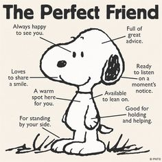 Snoopy, Dogs, The perfect friend Comics Peanuts, Peanuts Cartoon, Peanuts Snoopy, Peanuts Quotes, Snoopy Quotes, Funny Quotes, Life Quotes, Friend Quotes, Charlie Brown And Snoopy