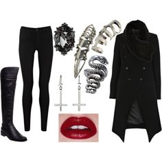 A fashion look from January 2012 featuring drape coat, black skinny jeans и riding boots. Browse and shop related looks.