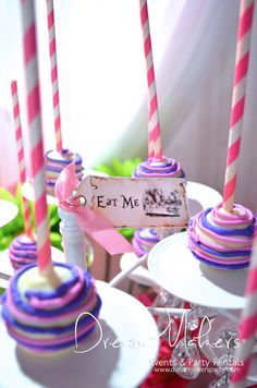 Awesome cake pops at a Alice in Wonderland Quinceañera Party!  See more party ideas at CatchMyParty.com!
