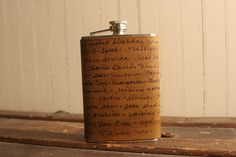 """Personlized Flask Smokey Pattern in Antique by moxieandoliver    I wish I could blow ~$70 on this and put the following on it:    """"Man being reasonable must get drunk; The best of life is but intoxication; Glory, the grape, love, gold - in these are sunk - The hopes of all men and of every nation"""" - Lord Byron"""