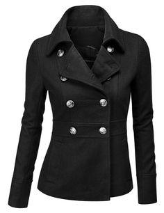 Doublju Double Breasted Pea Coat Jacket