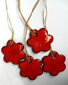 Christmas Ornament Gift Tag Orange Flower With by mychristmastree, $19.00