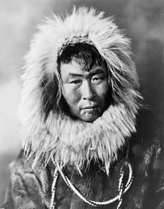 ✿ This portrait of an Inuit man wearing a fur jacket with hood was most likely taken at the beginning of the 20th century. Traditional Inuit clothing is made from animal skins. Large thick warm coats with big hoods called parkas are worn as an outer layer. ~ Library of Congress Prints and Photographs Photograph by Cann Studio, Inc., Fairbanks, Alaska ✿