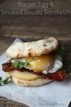 Bacon, Egg and Smoked Gouda Breakfast Sandwich on MyRecipeMagic.com