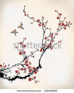 Beautiful cherry blossom branch with birds - would make a lovely tattoo