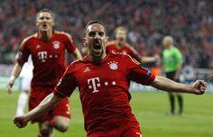 Frank Ribery of Bayern Munich celebrates his goal against Real Madrid