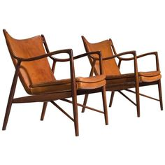 Finn Juhl for Niels Vodder Pair of NV45 in Original Cognac Leather ca.1950 | 1stdibs.com