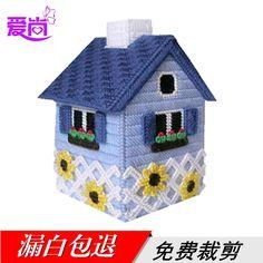 愛尚立體繡抽紙盒已裁剪批發 立體繡-立體十字繡房型紙巾盒 C-6